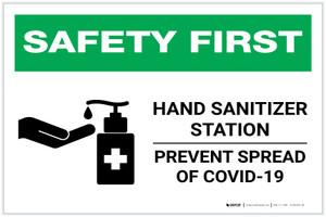 Safety First: Hand Sanitizer Station COVID-19 Landscape - Label