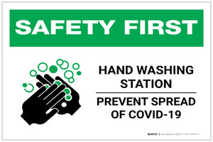Safety First: Hand Washing Station Prevent COVID-19 Landscape - Label