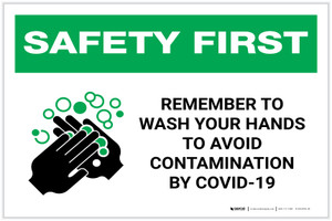 Safety First: Remember To Wash Your Hands Avoid COVID-19 Landscape - Label