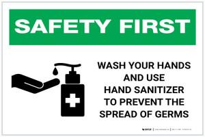 Safety First: Wash Hands & Use Hand Sanitizer Landscape - Label