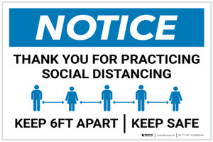 Notice: Thank You For Social Distancing Landscape - Label