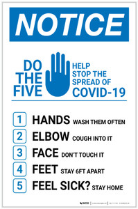 Notice: Do The 5 - Help Stop The Spread of Covid-19 Portrait - Label