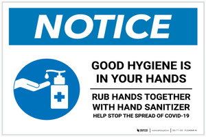 Notice: Good Hygiene is in Your Hands with Icon Landscape - Label