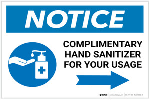 Notice: Complimentary Hand Sanitizer For Your Usage - Right Arrow Landscape - Label