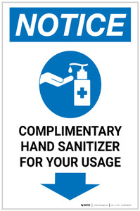 Notice: Complimentary Hand Sanitizer For Your Usage Down Arrow Portrait - Label