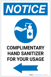 Notice: Complimentary Hand Sanitizer For Your Usage Left Arrow Portrait - Label