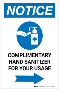 Notice: Complimentary Hand Sanitizer For Your Usage Right Arrow Portrait - Label