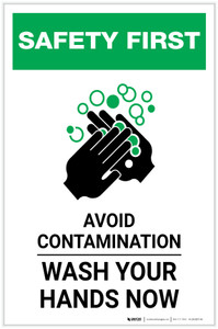 Safety First: Avoid Contamination - Wash Your Hands Portrait - Label