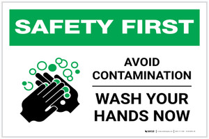 Safety First: Avoid Contamination - Wash Your Hands NowLandscape - Label