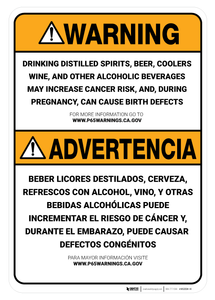 Prop 65 Alcohol Bilingual (Spanish) - Wall Sign