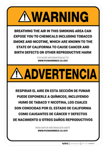 Prop 65 Smoking Area Bilingual (Spanish) - Wall Sign