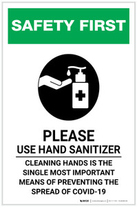 Safety First: Cleaning Hands is the Single Most Important Means of Preventing Spread Portrait - Label