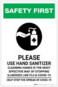 Safety First: Cleaning Hands is the Most Effective Way of Stopping Illnesses Portrait - Label