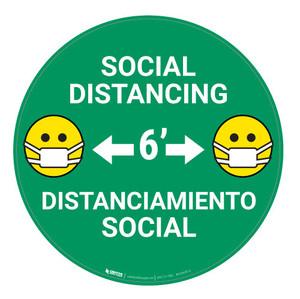 Social Distancing with Facemask Emoji Bilingual - Green  - Floor Sign