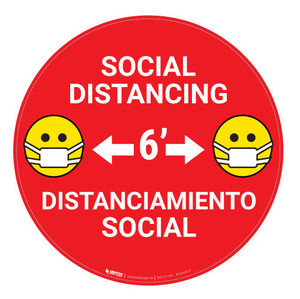 Social Distancing with Facemask Emoji Bilingual - Red - Floor Sign