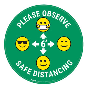 Please Observe Safe Distancing with Facemask Emojis - Green - Floor Sign