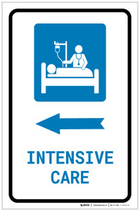 Intensive Care Left Arrow with Icon Portrait - Label