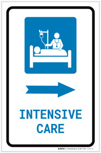 Intensive Care Right Arrow with Icon Portrait - Label