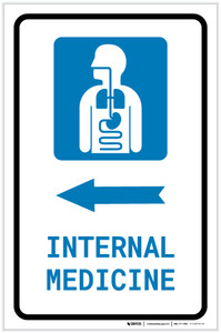 Internal Medicine Left Arrow with Icon Portrait - Label