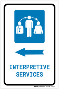 Interpretive Services Left Arrow with Icon Portrait - Label