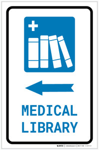 Medical Library Left Arrow with Icon Portrait - Label