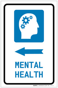 Mental Health Left Arrow with Icon Portrait - Label