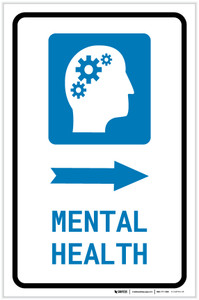 Mental Health Right Arrow with Icon Portrait - Label