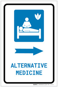 Alternative Medicine Right Arrow with Icon Portrait - Label