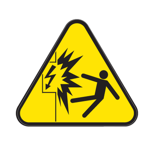 Contact with Electricity Die Cut Label