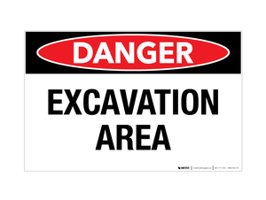 Danger - Excavation Area - Wall Sign