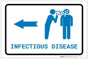 Infectious Disease Left Arrow with Icon Landscape v2 - Label