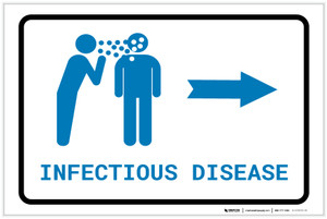Infectious Disease Right Arrow with Icon Landscape v2 - Label