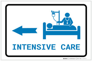 Intensive Care Left Arrow with Icon Landscape v2 - Label