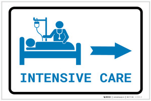 Intensive Care Right Arrow with Icon Landscape v2 - Label