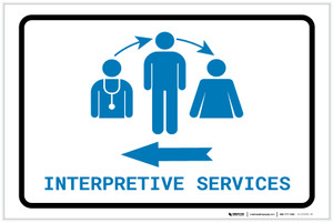 Interpretive Services Left Arrow with Icon Landscape v2 - Label