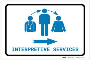 Interpretive Services Right Arrow with Icon Landscape v2 - Label