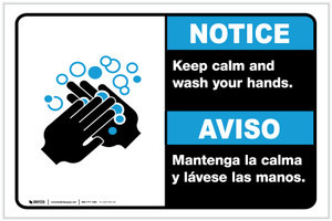 Notice: Keep Calm and Wash Your Hands Bilingual with Icon ANSI Landscape - Label