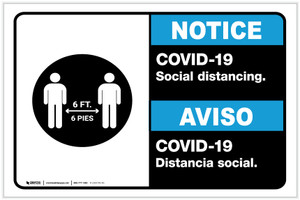 Notice: COVID-19 Social Distancing Bilingual with Icon ANSI Landscape - Label