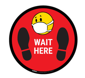 Wait Here with Facemask Emoji - Red  - Floor Sign
