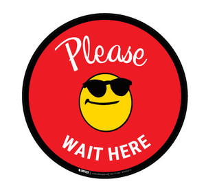 Please Wait Here with Sunglasses Emoji - Red  - Floor Sign