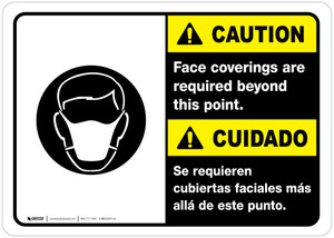 Caution: Face Coverings Required Beyond This Point Bilingual with Icon ANSI Lansdcape - Wall Sign