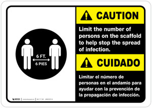 Caution: Limit Number Of Persons On Scaffold Bilingual with Icon ANSI Landscape - Wall Sign