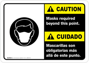 Caution: Masks Required Beyond This Point Bilingual with Icon ANSI Landscape - Wall Sign