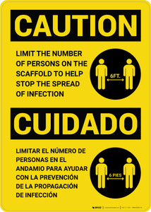 Caution: Limit Number Of Persons On Scaffold Bilingual with Icon Portrait - Wall Sign