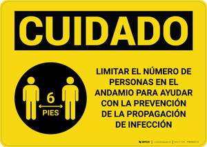 Caution: Limit Number Of Persons On Scaffold Spanish with Icon Landscape - Wall Sign