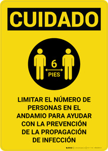 Caution: Limit Number Of Persons On Scaffold Spanish with Icon Portrait - Wall Sign