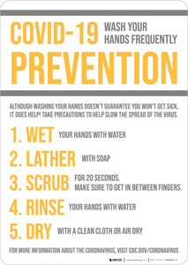 COVID-19 Prevention Wash Hands Frequently Portrait - Wall Sign