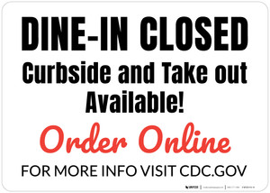 Dine-In Closed Curbside And Take Out Available - Red Landscape - Wall Sign