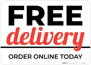 Free Delivery Order Online Today Landscape - Wall Sign