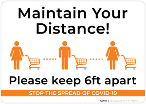 Maintain Your Distance Please Keep 6Ft Apart with Icons Landscape - Wall Sign